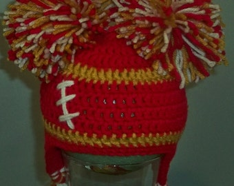Crocheted baby girl football  cheerleader beanie   Any Team Any Color Combination Cute photo prop