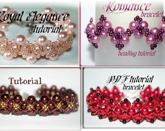 A SET of 4 Pearl bracelet beading pattern tutorials PDF files instant download