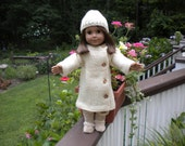 Hand knitted , all wool American girl doll coat and hat,