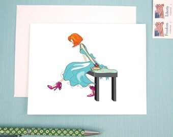 Greeting Card, Note Card, Illustration of a red head in a teal cocktail dress with fancy bow tied heels