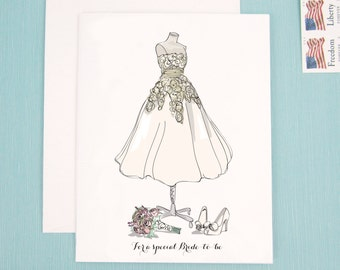 Wedding Shower Card for the lovely Bride to be featuring a wedding dress, shoes, and bouquet fashion illustration