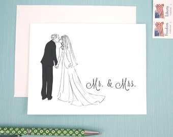 Wedding Card for the new Mr. & Mrs. featuring black and white fashion illustration of bride and groom