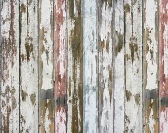 NEW ITEM 6ft x 5ft Vinyl Photography Backdrop  / Peeling Colored Wood