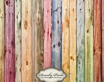 5ft x 5ft Vinyl Photography Backdrop / Watercolor Rainbow Wood