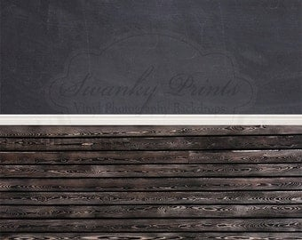 "ALL In ONE 60"" x 123"" (backdrop, floordrop & baseboard) Chalkboard, Baseboard and Black Stained Wood"