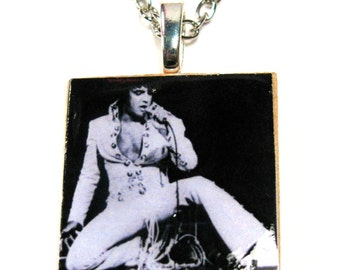 Elvis Presley jumpsuit 1 inch scrabble tile necklace chain included