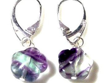 Rainbow Flourite Earring in Sterling Silver