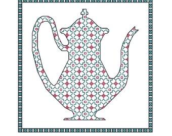 Blackwork Teapots, 4 x cross stitch teapot chart PDF