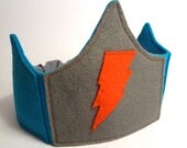 Orange and Blue Lightning Bolt Superhero Play Crown Stocking Stuffer