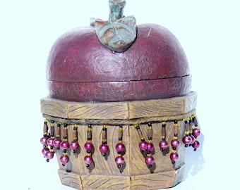 Vintage Decor, Apple Candy Bowl with Lid, Unique Design