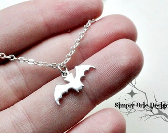 Sterling silver BAT necklace, charm, Batman & Batgirl, simple silver jewelry, flying bat, gothic, all sterling silver, minimalist, everyday