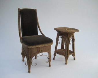 MADE TO ORDER Miniature Wicker Chair and Side Table Set for Dolls Doll
