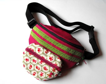 fanny pack/hip bag with a purse - mauve/pink and green with lace (medium size)