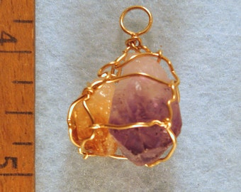 Mini Amethyst & Citrine Wire Wrapped Crystal Pendant