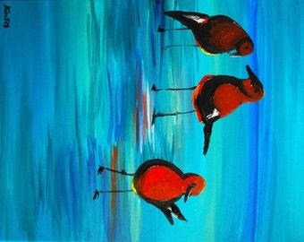Birds on the Lagoon Original Acrylic Painting - Kimberly Turnbull 2013