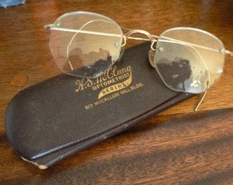 vintage men ... VINTAGE EYE GLASSES burgundy brown leather case ...