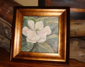 Magnolia, New - Watercolor on Aquaboard, framed and ready to hang, framed size is 7 3/8 x 7 3/8 inches