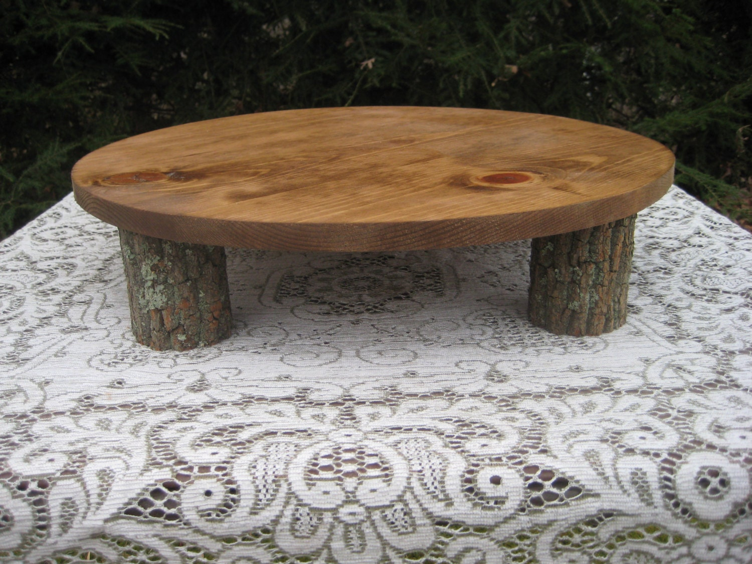 Making A Round Cake Stand Out Of A Tree Slice