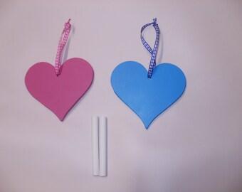 heart chalk boards valentine pink blue