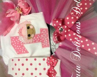 Lalaloopsy Inspired Tutu and Personalized Shirt Set~ Jewels Sparkles Tutu~ Birthday Tutu Set~ Photo Prop~ lalaloopsy outfit~
