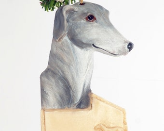 Greyhound Christmas ornament - graceful grey and white greyhound ornament personalized with your choice of name  (d127)