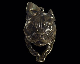 Solid Bronze Pitbull Biker Pendant sold without the Chain - Free Shipping