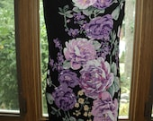 Vintage Silk Screened Floral Designed Dress with Large Pink and Purple Peonies  in a  Full  Length Black Rayon Gown in Mint Condition
