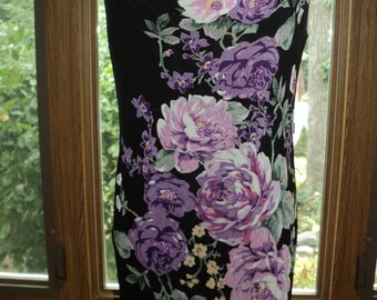 Vintage Hand Painted Floral Dress with  Silk Screened Pink and Purple Peonies on  A Long Length Black Rayon Gown in near  Mint Condition