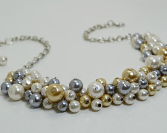 Pearl Cluster Necklace, Ivory Gray and Champagne Chunky Necklace, Bridal Jewelry, Gray Bridesmaids Pearl Necklace, Wedding Pearl Necklace.
