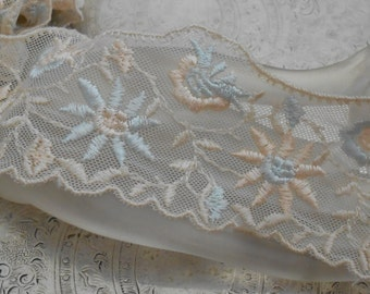 Pale Peach and Blue Floral Stitched Trim
