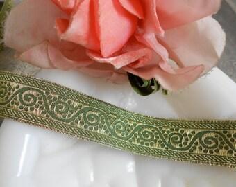 Green and Gold Paisley Print Ribbon