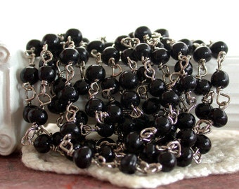 Rosary Chain, 4mm Beaded Chain, Black Bead Chain, Black Rosary Chain, Silver Plated Bead Chain, Jewelry Chain CHN-069