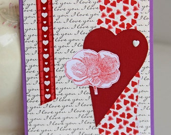 Heart And Poppy Greeting Card, Wedding Anniversary, Red and Purple Valentine's Day Card, Love Note, Heartfelt Valentine, Handmade Notecard