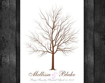 Wedding Tree Guest Book Alternative - Thumbprint tree guestbook -  Interactive Art Print - 5-25 guest sign in - Tree Guestbook 8x10 num. 144