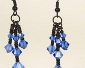 Sapphire Earrings Three Tier Dangle