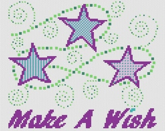 Instant download Make A Wish cross stitch pdf chart stars nursery child's room fun