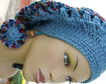 Crochet Tam with Matching Earrings-Blue  Made To Order