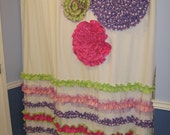 Shower Curtain Custom Made Designer Fabric Ruffles and Flowers Hot Pink, Green, Purple, Lilac, Lavendar WhiteTulle