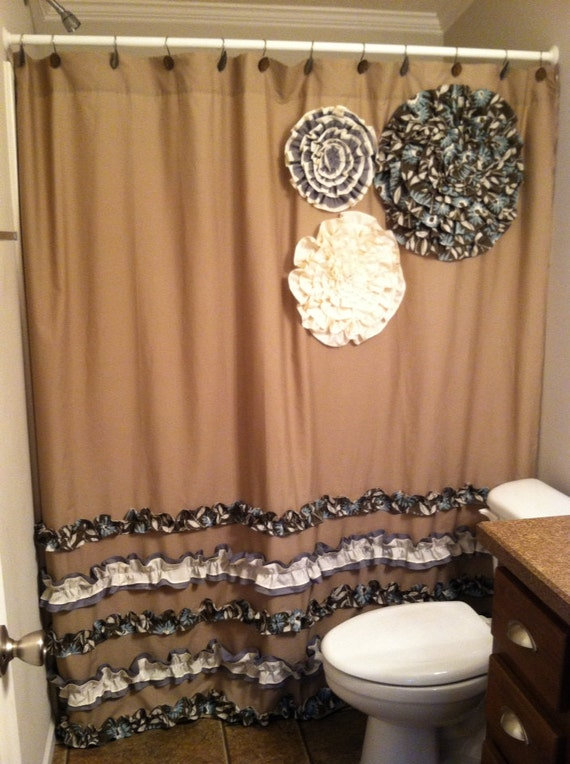 Items Similar To Shower Curtain Custom Made Designer Fabric Ruffles Flowers Chocolate Brown Blue