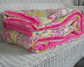 Twin Minky Comforter - Handmade Twin Bedding - Kumari Garden - Choose Your Fabrics - Add a Sham and Bedskirt to Make a Set