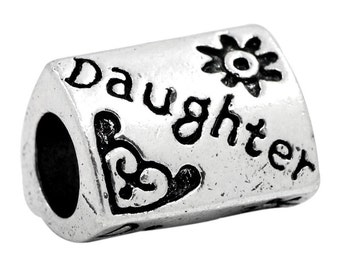 """5 Daughter Beads - Antique Silver - Wide Hole - """"Daughter"""" - 13x10mm  - Ships IMMEDIATELY from California - B824"""