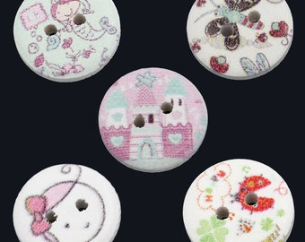 SALE 25 Buttons - Mixed Painted Design - 2 Holes - Childrens - Scrapbooking - 15mm  - Ships IMMEDIATELY from California - W53