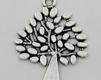 30 Tree Charms - WHOLESALE - Antique Silver - 30x23mm - Ships IMMEDIATELY from California - SC753a