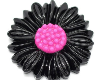 SALE Black Cabochons - Daisy Collection -  27mm - 3pcs - Ships IMMEDIATELY from California - C14B