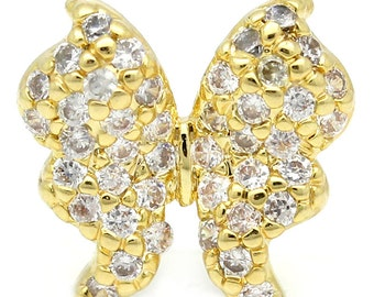 Gold Butterfly Connector -  Cubic Zirconia - 11x11mm - Ships IMMEDIATELY from California - GC44