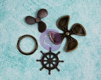 "SALE Prima Junkyard Findings ""Ship Parts"" - Vintage Inspired Metal Embellishments - 4pcs"