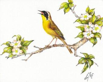 Original Oil BIRD Portrait Painting Art Artwork COMMON YELLOWTHROAT Flower Artist Signed