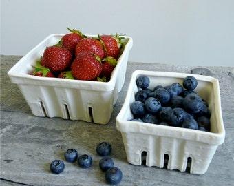 Porcelain Berry Basket, Ceramic Fruit Colander Size Small