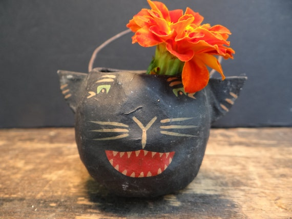 RESERVED for CATANDFIDDLEFOLK 1940's Black Cat Head Candy Container for Halloween, Antique Small Hand Painted