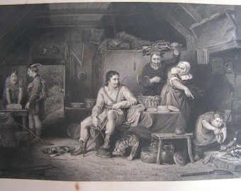 Sir David Wilkie - A print from the 1840 book The Wilkie Gallery -  This one is Alfred in the Neatherds Cottage
